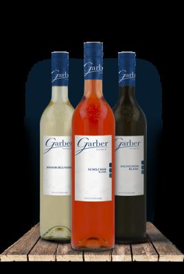 Wein Flaschen - Schilcher Klassik, Sauvignon Blanc, Weissburgunder aus Holz Brett